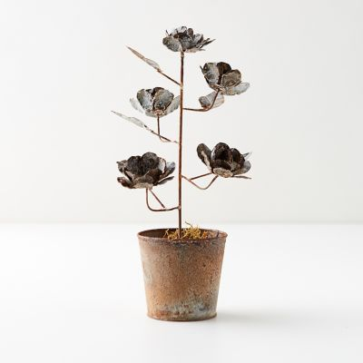Aged Iron Potted Roses, Silver