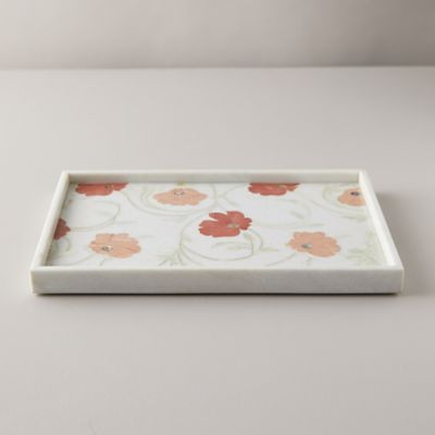 Marble + Stone Floral Inlay Tray