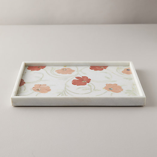 View larger image of Marble + Stone Floral Inlay Tray