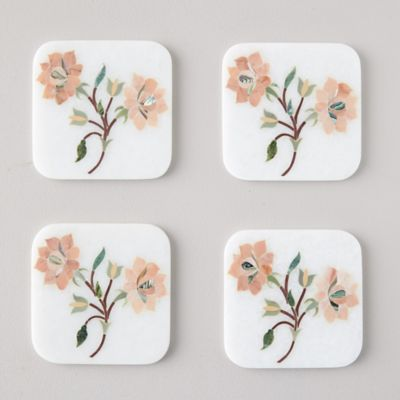 Marble Bouquet Coasters, Set of 4