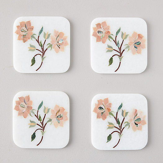 View larger image of Marble Bouquet Coasters, Set of 4