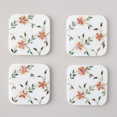Marble Flowering Branches Coasters, Set of 4