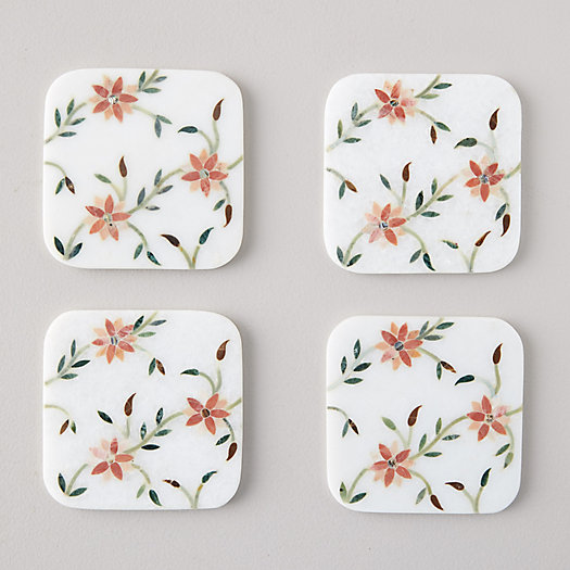 View larger image of Marble Flowering Branches Coasters, Set of 4