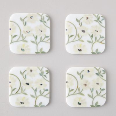 Marble Floral Stems Coasters, Set of 4