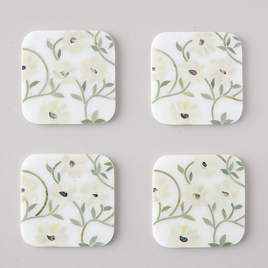 View larger image of Marble Floral Stems Coasters, Set of 4