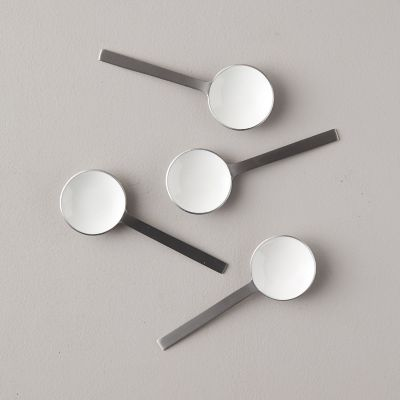 Hammered Pewter + Enamel Spoons, Set of 4