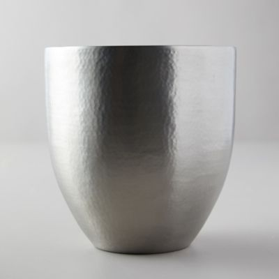 Hammered Pewter + Enamel Ice Bucket