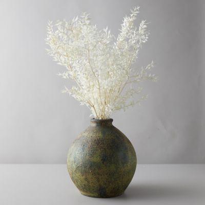 Aged Ceramic Vase, Green