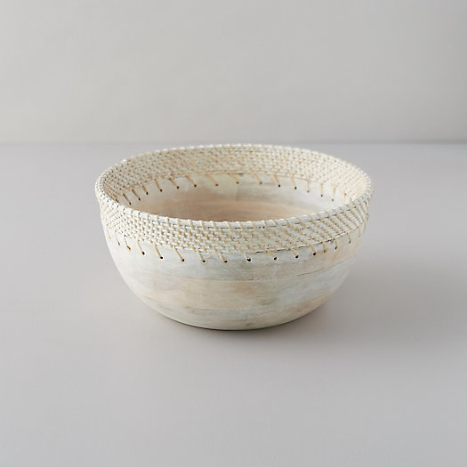 View larger image of Mango Wood + Rattan Serving Bowl