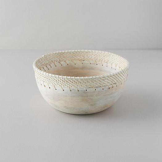 View larger image of Mango Wood + Rattan Serving Bowl