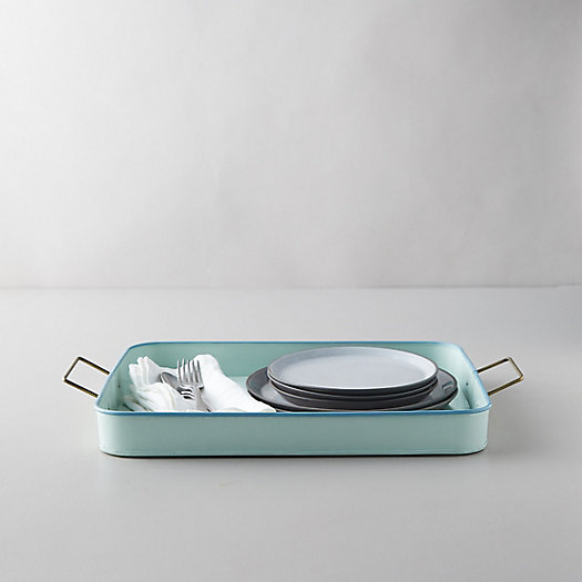 View larger image of Enamel Serving Tray, Mint Green