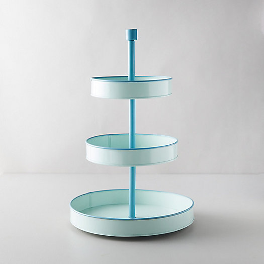 View larger image of Enamel 3-Tier Serving Tray, Mint Green