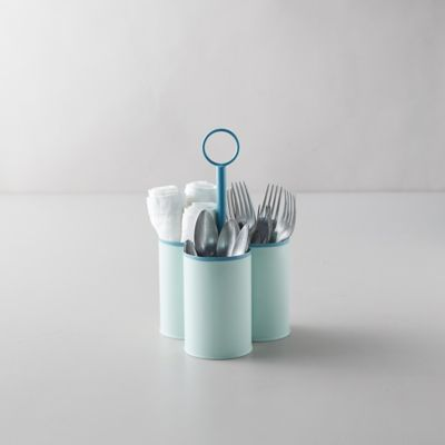 Enamel Utensil Holder, Mint Green