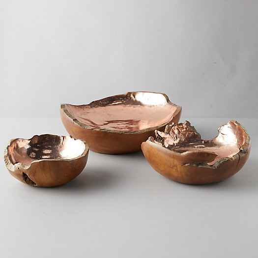 View larger image of Teak + Copper Bowl