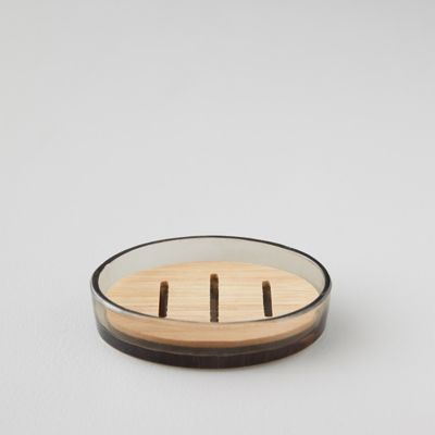 Glass + Bamboo Soap Dish
