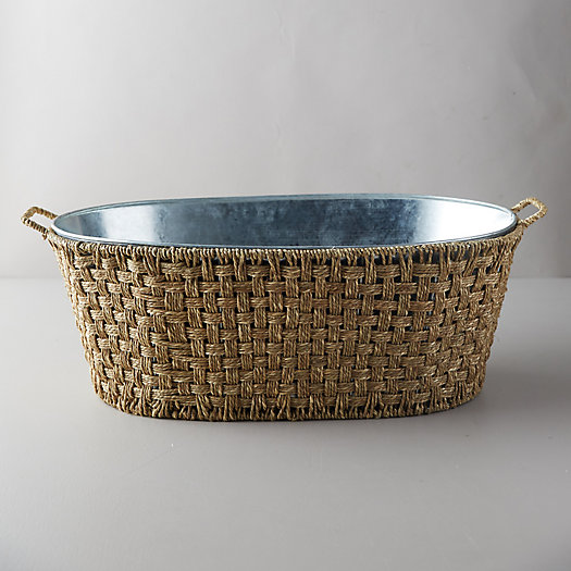 View larger image of Galvanized Iron + Woven Rattan Beverage Tub