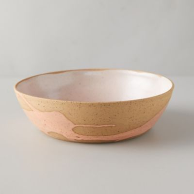 Speckled Splash Stoneware Bowl, Coral