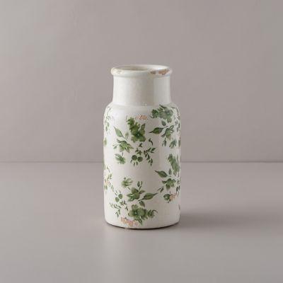 Green Chinoiserie Column Vase