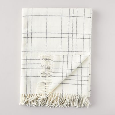 Icy Plaid Lambswool Throw