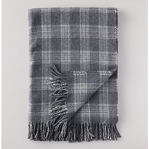 View larger image of Steel Gray Plaid Lambswool Throw