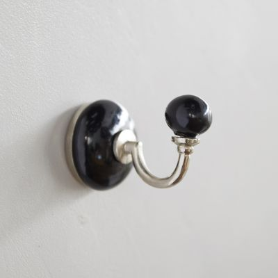 Enamel Wall Hooks Set of 2, Bright Black