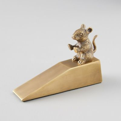 Brass Mouse in the House Door Stop