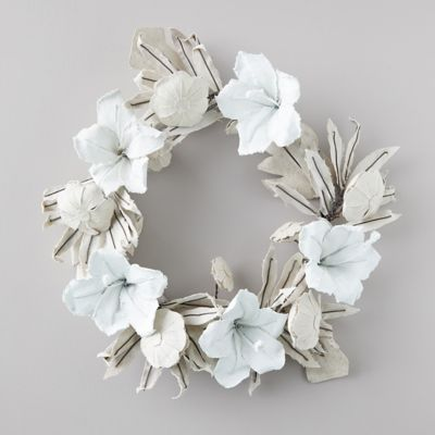 White & Natural Tropical Floral Canvas Wreath