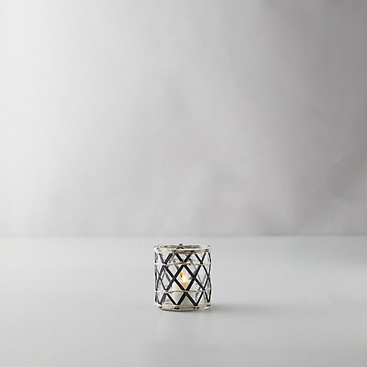 View larger image of Geo Rattan Votive Holder, Black + Natural