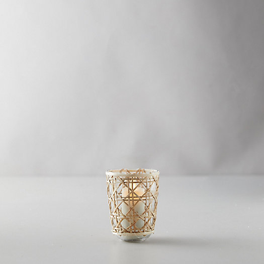 View larger image of Geo Rattan Votive, Natural