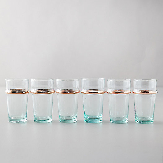 View larger image of Nickel Rim Moroccan Glasses, Set of 6
