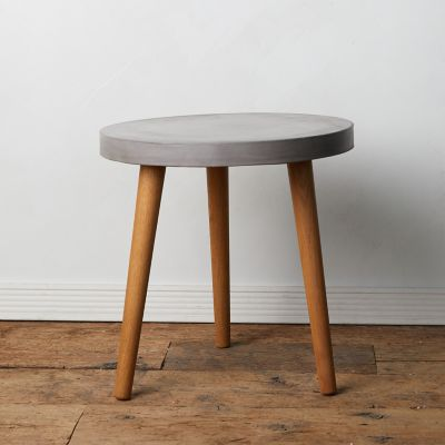 Concrete + Acacia Wood Side Table