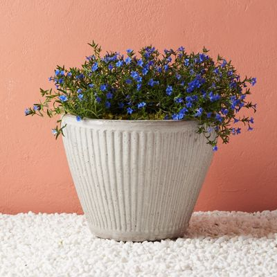 Tapered Ridge Ceramic Planter