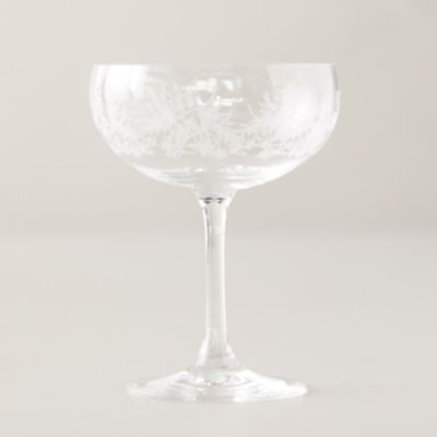 Etched Palms Glass Coupe