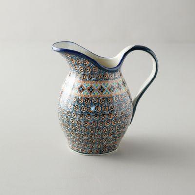 Tiled Flora Ceramic Pitcher