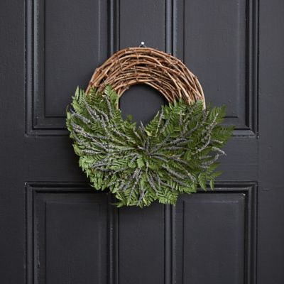 Asymmetrical Fern + Lavender Wreath