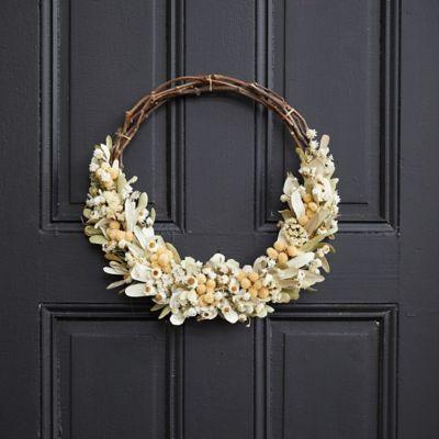 Bleached Ammobium + Globe Amaranthus Wreath