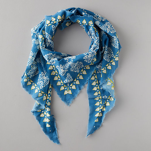 View larger image of Blue Paisley Triangle Scarf