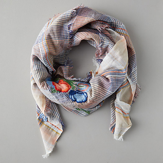 View larger image of Embroidered Floral Stripe Scarf