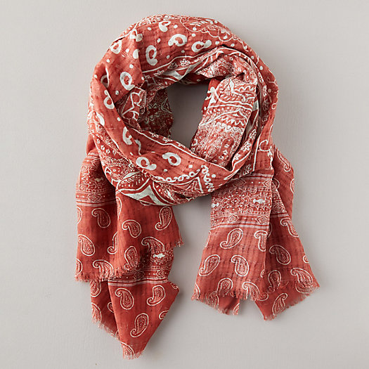 View larger image of Linen Blend Paisley Scarf