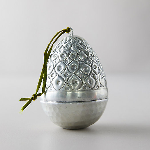 View larger image of Silver Etched Easter Egg Ornament, Dimpled