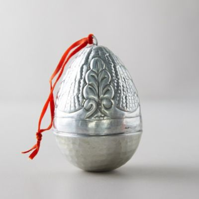 Silver Etched Easter Egg Ornament, Leaf