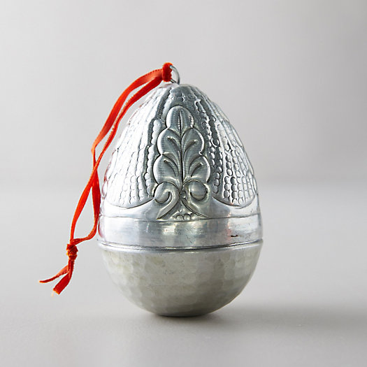 View larger image of Silver Etched Easter Egg Ornament, Leaf