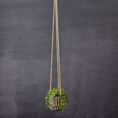 Wood Stripe Hanging Pot