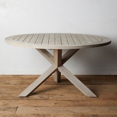 Cross Leg Teak Round Dining Table