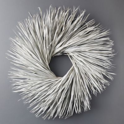 Preserved White Palmetto Leaf Wreath
