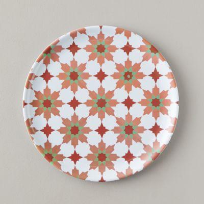 Tile Print Melamine Plate, Dark Rose