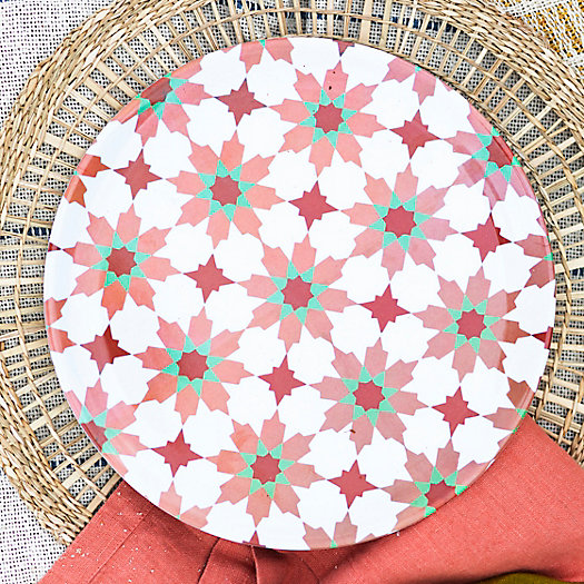 View larger image of Tile Print Melamine Plate, Dark Rose