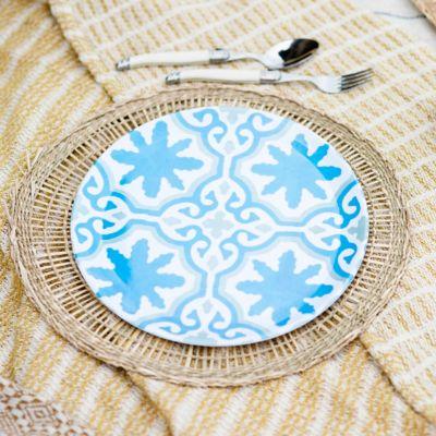 Tile Print Melamine Plate, Blue