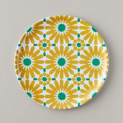 Tile Print Melamine Plate, Yellow