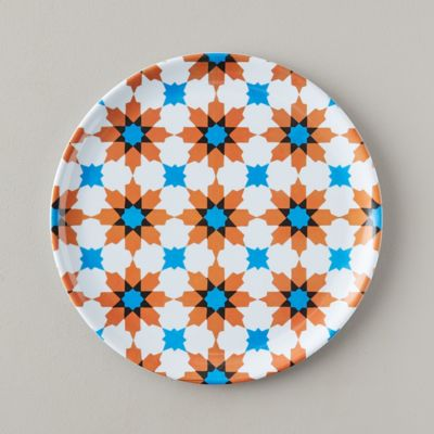Tile Print Melamine Plate, Orange